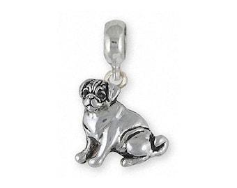 Pug Jewelry Sterling Silver Pug Charm Slide Handmade Dog Jewelry PG45-PNS