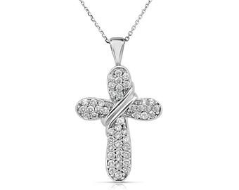 Diamond Orthodox Cross Necklace - 0.57 Carat Pave Diamond Cross Christian Necklace - Elegant 14K White Gold Cross for Women - CR_0053
