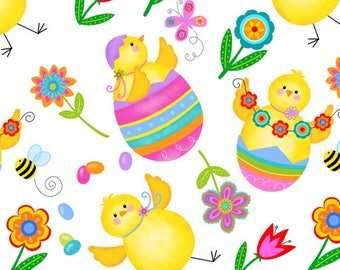 Chicks and Eggs on White from Studio E's Spring Has Sprung Collection by Sharla Fults