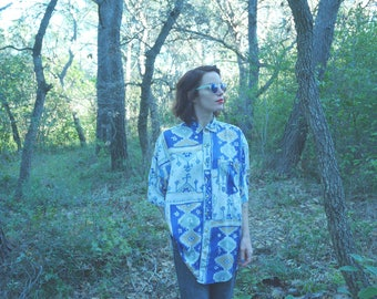 Shirt pattern french Vintage 1980's 80s 90 s s blue