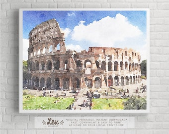 Italy, Rome, Colosseum - Aquarelle Watercolor Painting Digital Wall Art Instant Download