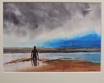 Crosby Beach, Storm approaching. Watercolour with mount from the artist.