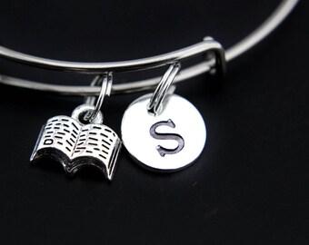 Inspirational Miniature Book Bangle Miniature Book Bracelet Open Book Charm Book Charm Bookworm Gift Personalized Bangle Initial Charm