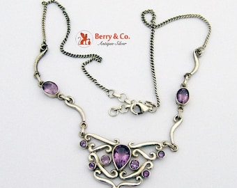 SaLe! sALe! Ornate Necklace Sterling Silver Amethysts