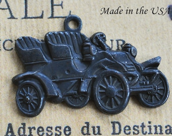 TWO Vintage Car Charms, Brass Charms, Black Satin Finish, Brass Stampings, Black Findings, Jewelry Supplies