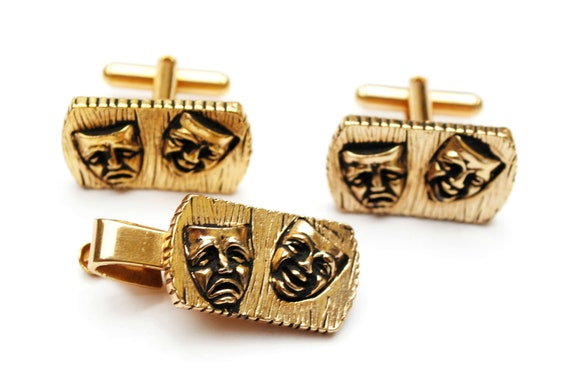 Comedy and Tragedy Cuff links and Tie Clip - gold repouss - Cufflinks and tie clasp.