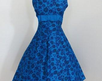 1950s Royal Blue Floral Print Sleeveless Dress by Miss Peg Palmer