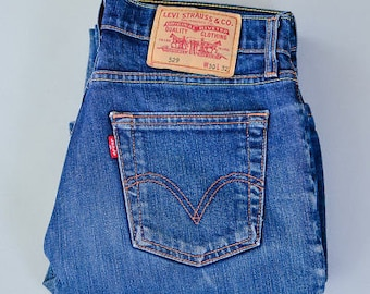 Vintage Levi 529 Jeans Bootcut Zip Fly Blue (Patch W30 L32) W 30 L 31 UK 12