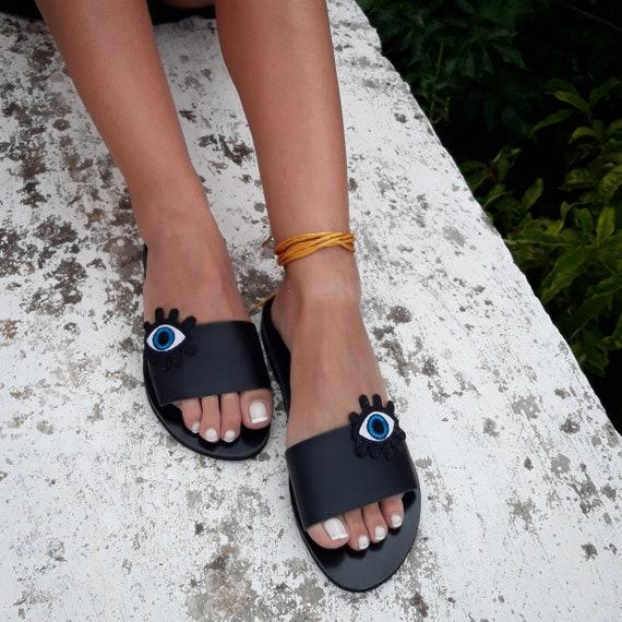 Evil Sandals Eye Art Sandals Boho Sandals RiRiPoM Sandals Gypsy Pom Sandals Minimal ''Karma'' Sandals Pop Black Pom Sandals Czq5qvw
