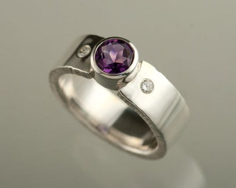 3rd payment of 3 for Jean Quinn 6mm Round Amethyst with 2 2pt Diamonds flush set into Sterling Silver Wide Ring, Wide band Wedding Ring