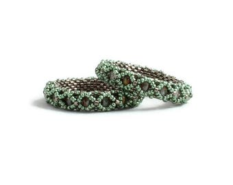 Sage Green Beaded Earrings, Seed Bead and Glass Hoop Earrings, Beadwork Jewelry, Beadwoven Circle Earrings, Lightweight Earrings