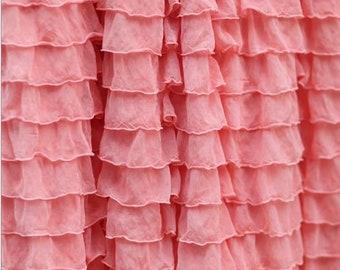 "Apricot Light Coral 2"" Ruffle Fabric"