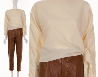 RARE 1930's Cream White Wool Asymmetric Side Tie Top Wool Blouse 30's Top