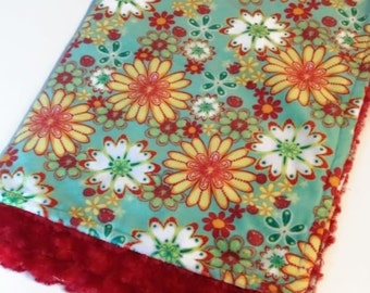 Soft baby blanket double minky baby girl with red reversible cayalou