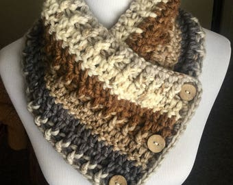 Crochet cowl shawl scarf super thick soft and chunky with buttons brown gray tan cream