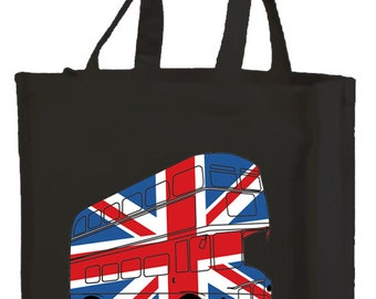 Best of British London Bus Shopping Bag with gusset and long handles, 3 colour options