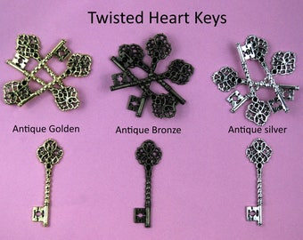 Twisted Heart Keys With Flatbacks - Choice of Colours - Charms/Pendant Parts For Jewellery and General Decoration