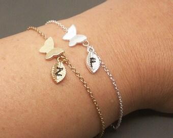 Butterfly Bracelet, Baby Butterfly Bracelet, Insect Bracelet, Bug Bracelet, Butterfly Jewelry, Personalized Initial Bracelet BB529