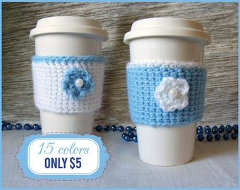 Coffee Mug Cozy, Coffee Cozy, Coffee Cozy Crochet, Coffee cup warmer made from durable yarn,  15 colors!