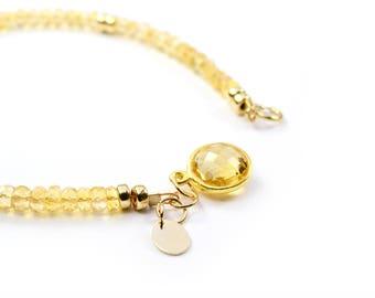 Citrine Bracelet, Citrine jewelry, November Birthstone, her gift, Gift For Wife, Yellow Citrine in Gold, 14K gold Filled, Gift For Mum, gift