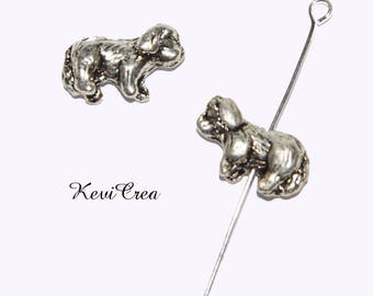4 x dog silver plated beads