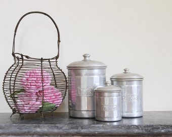 French vintage kitchen canisters - aluminium nesting set of three