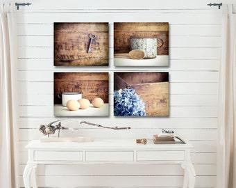 Farmhouse Kitchen Decor, Rustic Kitchen Wall Decor, Country Kitchen Wall Decor, Farmhouse Kitchen Art Set of 4 Prints Fixer Upper Decor