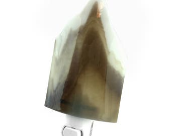 Night Light Plug In, Earthy Brown & White, Home Decor, Art Glass