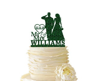 Glitter Mr. and Mrs. Saluting Soldier w/ Bride Personalized W/ Name and Date or Initials - Wedding - Anniversary - Acrylic Cake Topper - 145
