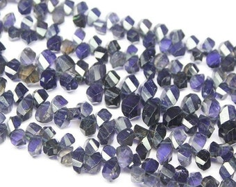 Water Sapphire Blue Iolite Faceted Briolette Tear Drop Twisted Beads 10mm 7mm - Jewelry Making