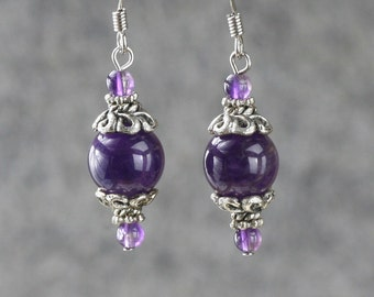 Amethyst simple drop earrings Bridesmaids gifts Free US Shipping handmade Anni Designs