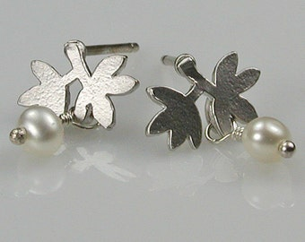 Petite Silver Leaves and Pearls Earrings