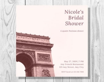 Pale Pink Paris Bridal Shower Invitation - Printable