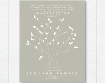 Let Your Roots Grow . Family Scripture Print with Tree and Colossians 2:7