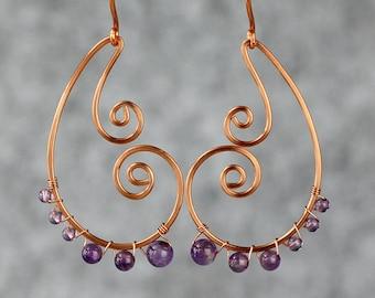 Amethyst copper wiring scroll hoop earring handmade US free shipping Anni Designs