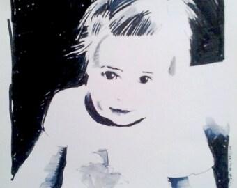 custom portrait, original illustration, portrait from photo, black and white, ink, marker, watercolor, baby portrait
