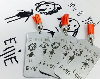 Turn Your Kids Artwork into a Bookmark, Metal Bookmark, Engraved Bookmark, Silver Bookmark, Engraving, Book, Bookmark, Kid Art, Tassel