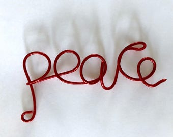 peace, red wire ornament, Christmas decor, christmas ornament, lilyb444