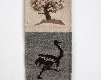 Vintage Tree & Ostrich Woven Tapestry | Woven Wall Hanging