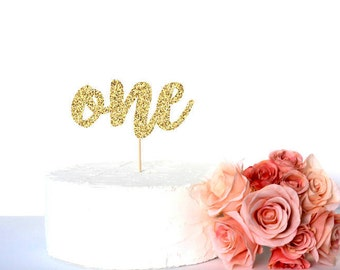 Gold glitter 1st birthday cake topper, One first birthday caketopper, glitter cardstock paper cake decoration