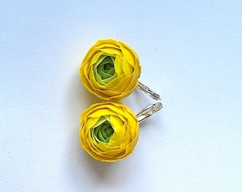 Clay flower earrings.Yellow ranunculus earrings.Porcelain jewelry.Yellow earrings.Clay flowers.