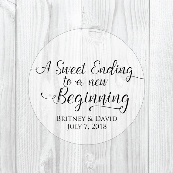 A sweet ending to a new beginning wedding favor stickers clear stickers clear wedding labels thank you stickers wedding favor tags glossy