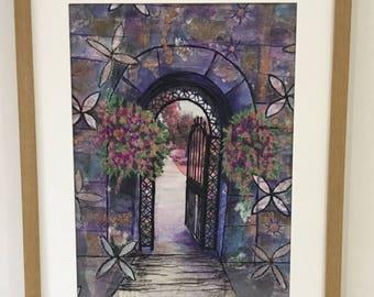 Secret Garden, textured textile art, using original photo, Fabric art, Mixed media, Machine embridary, photography,