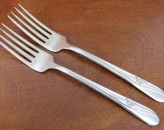 H & T floral Vintage Stainless Steel Silverware Flatware  forks vintage flatware utensils wedding silverware replacements glossy BIN 46