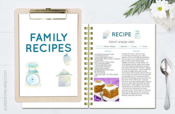 watercolor editable cookbook printable recipe template recipe page pattern blank cookbook recipe organizer letter size editable doc from purrplanner on