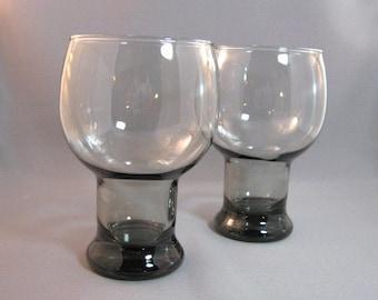 Set of 2 vintage 70's smoke gray glasses