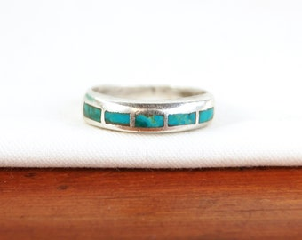 Turquoise Ring Band Size 7 Vintage Unisex Southwestern Trading Post Sterling Silver Sky Windows