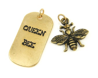 Queen Bee Charm Set Antique Gold Bumblebee Pendant |G5-7|1 set of 2 pieces