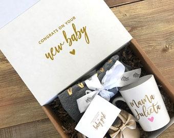 BABY SHOWER GIFT / mom gift set / new baby gift box / new mom gift box / baby shoes / gold baby shoes / custom mom mug / mothers day gift