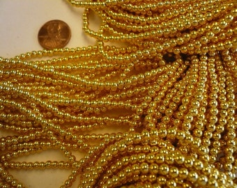 One Strand 3.5mm  Vintage Gold Plated Beads Lot 001